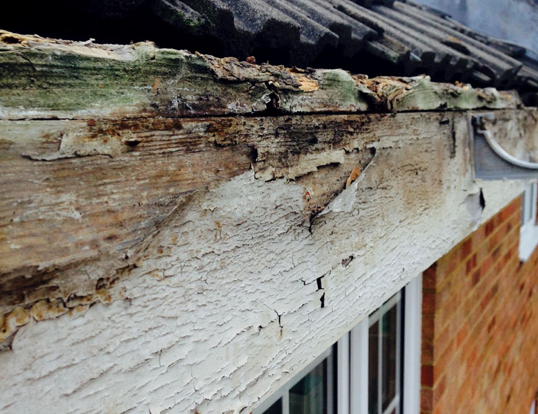 Image showing old, rotting, wooden Fascia Boards